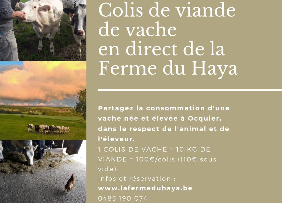 Colis de viande de vache en cours de vente
