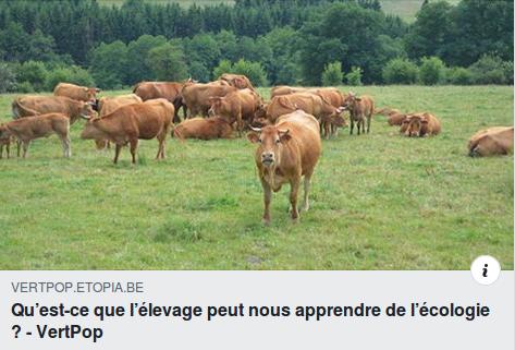 «Qu'est-ce-que l'élevage peut nous apprendre de l'écologie ?» – Débat le 30/09/2019 à Liège
