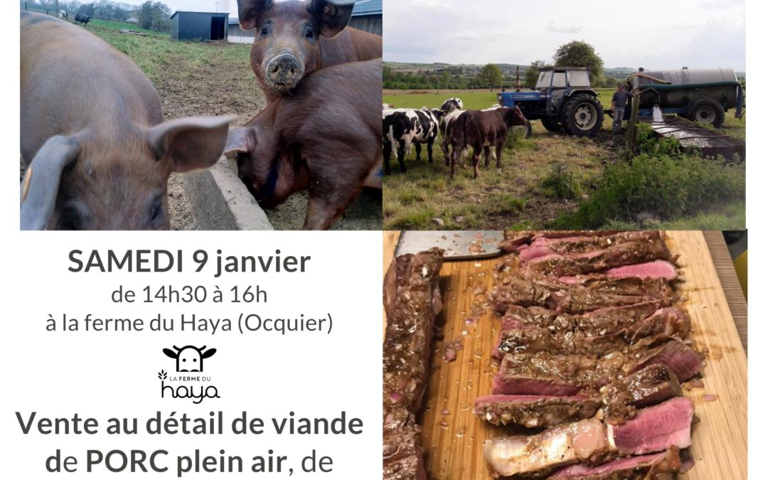 Vente de viande au détail ce samedi 9 janvier