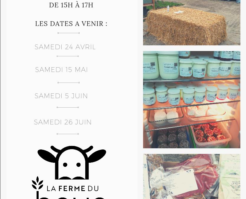 Les dates de nos prochains marchés fermiers